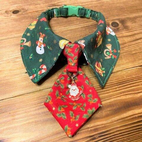 犬・猫の首輪 27~30 cocoちゃんネクタイチョーカーnew クリスマス柄・ヒイラギ柄・売り切り