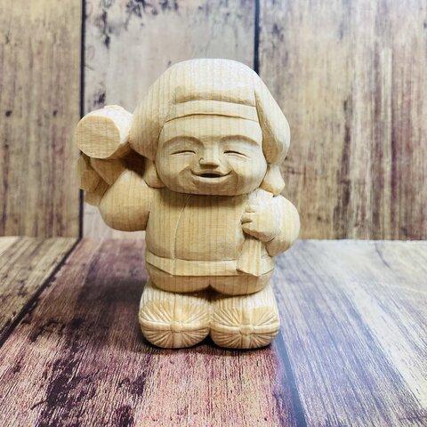 一笑仏風シンプル大黒天さん【木彫り】【受注製作】