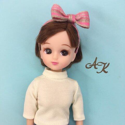 リカちゃん ジェニーちゃんなど ドール用 リボン カチューシャ ピンク チェック