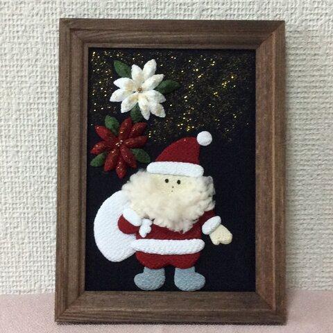 ちりめん細工:サンタクロースのフレーム飾り(和風)