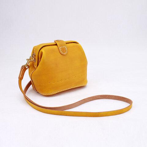 【切線派】がま口 本革手作りのレザーショルダーバッグ 手染め / 総手縫い 小型