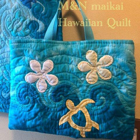 ハワイアンキルト♡レッスンバッグ♡波とホヌとプルメリア♡スカイブルー
