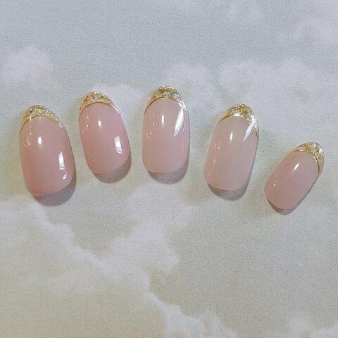 ガラスフレンチネイルチップ  ピンクオークル
