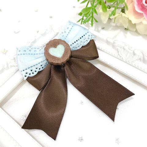 アイシングクッキー♡リボンブローチ(チョコxブルー)※ヘアクリップ交換可 / フェイクスイーツ リボン ロリータ