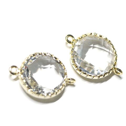 【2個】円型Glass透明クリアホワイトClear WhiteカラーMediumゴールド仕上げコネクター、チャーム