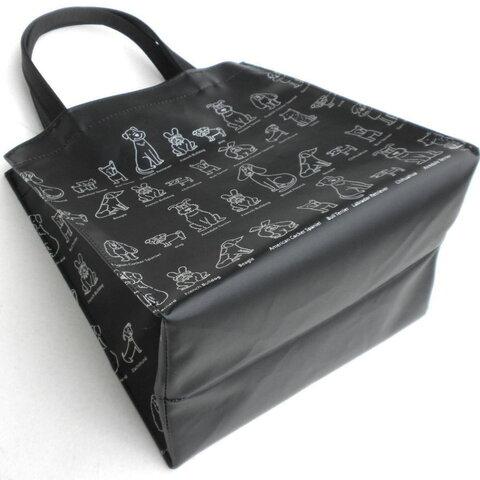 犬図鑑シリーズ イラスト ブラック ミニトートバッグ  ランチバッグ ビニールコーティングバッグ