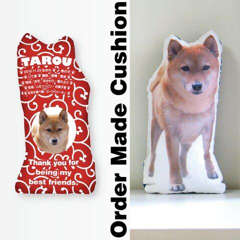 犬 猫 ペット 動物 柴犬 クッション ぬいぐるみ インテリア メモリアル プレゼント オーダーメイド 画像 写真 名前 唐草01n