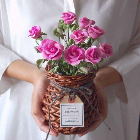 ◆粘土のお花◆ 薔薇・・・ピンク 高さ約25センチ B574