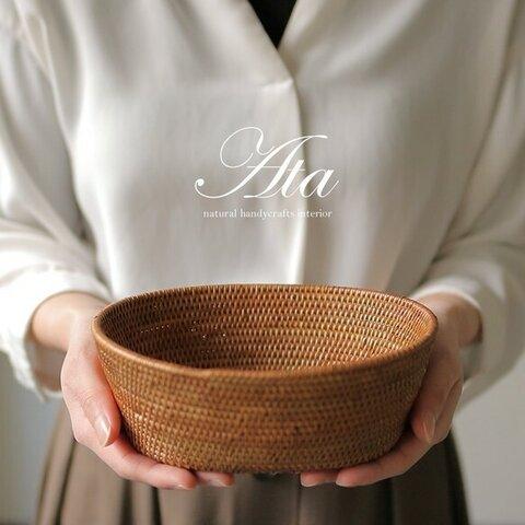当日出荷!アタ製丸っこい形がほっこりするアタ丸箱 A42(かご、手編みかご、みかんかご、小物入れ、果物かご)
