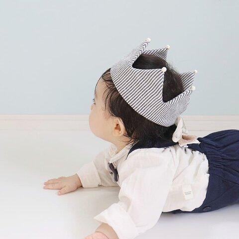 45cm / navy stripe / baby crown.  ベビークラウン