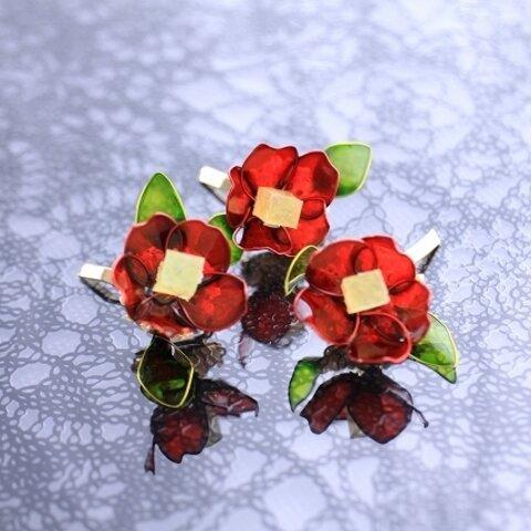 ポニーフック 髪飾り 椿 赤 和装 マニキュアフラワー ディップアート ワイヤーアクセサリー