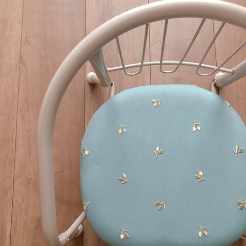 豆椅子 ベビーチェア 出産祝い ハーフバースデー 名入れ『刺繍チェリーBL』