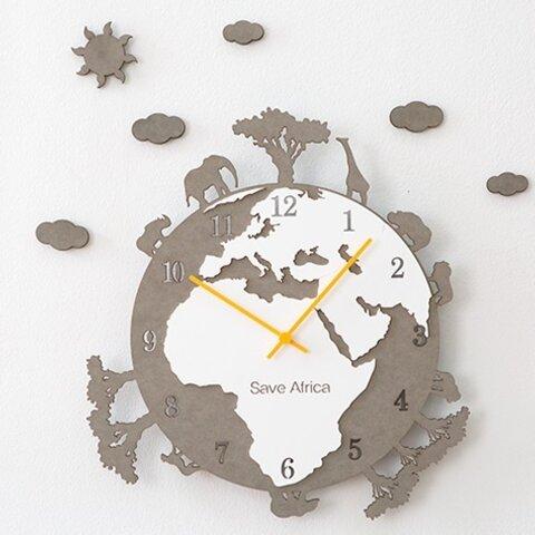 壁掛け時計  SAVE AFRICA グレイ