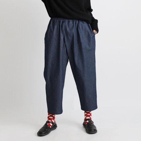 新作『あざとい斜めクロス パンツ』88cm コットン100%甘織デニムDENIM タック入 ゆったり ウエストゴムK95