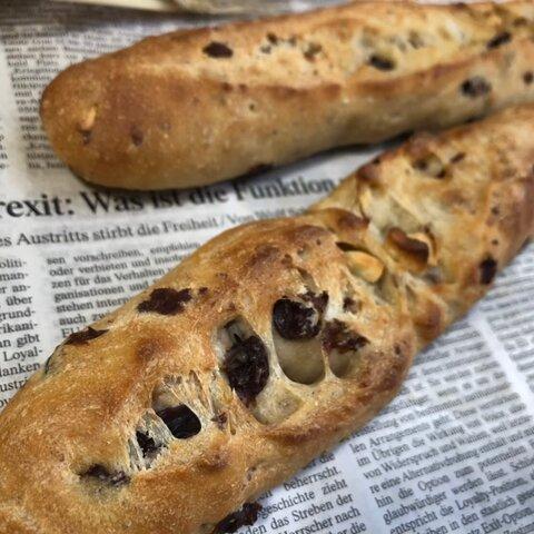 自家培養天然酵母の手づくりパン【ワインレーズンナッツ】1本*無添加ワイン使用!