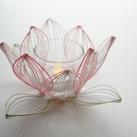 水引 蓮の花のキャンドルホルダー