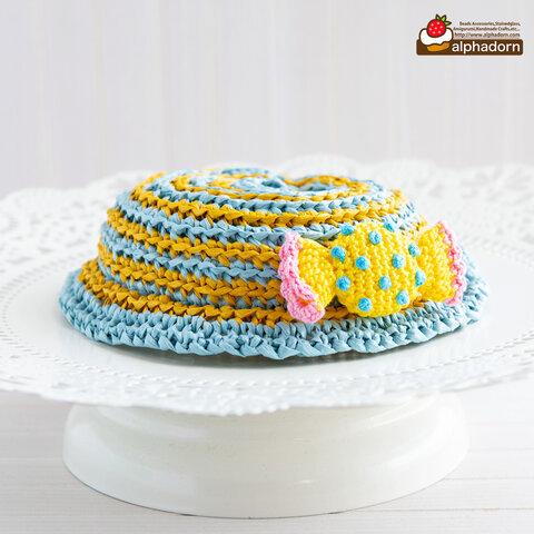 あみぐるみキャンディのブローチがついたドールのためのストライプ帽子BLYL(穴あり)