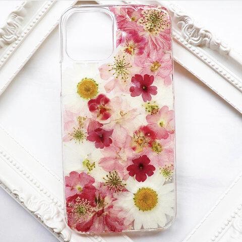 押し花iPhoneケース 押し花スマホケース 押し花ケース 押し花