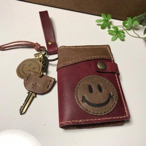 オイルレザー☆4連キーケース&カード入れ☆スマイル☆ブラウン☆ボルドー