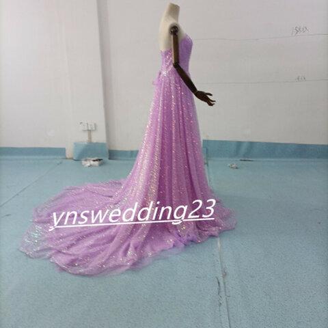高品質! オーバードレス パープル 上品なキラキラグリッターチュール   お色直し 色オーダー可能