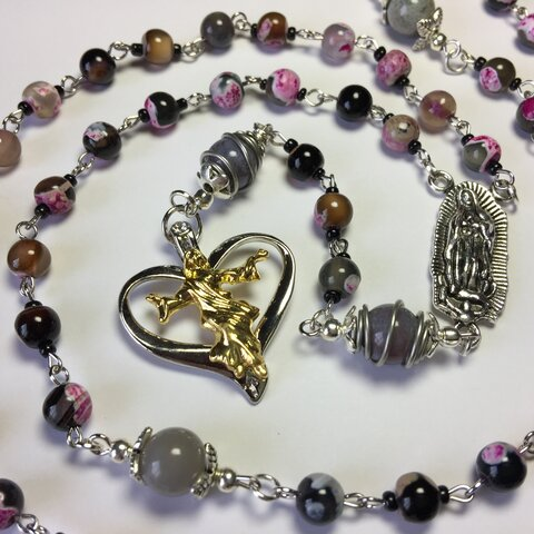 ロザリオ1点物(77)アゲート 瑪瑙(めのう)カトリック キリスト Rosary,Catholic,Prayer Beads,Healing,Relaxing,Gemstone,Holy Rosary