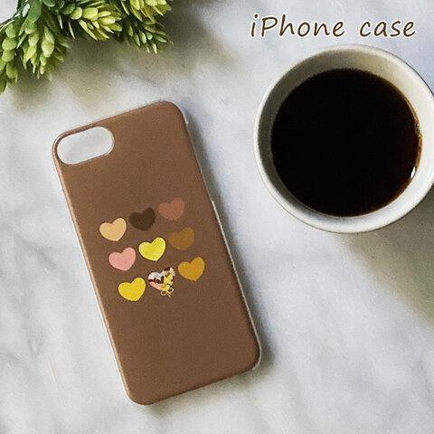 ハート柄(コーヒーカラー)*ハードタイプ iPhoneケース(表面印刷) 〖受注製作〗
