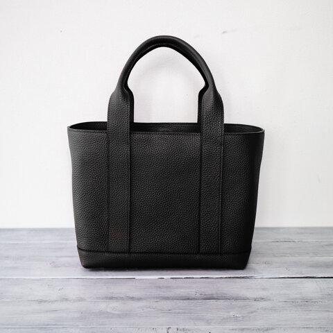 上質本革 トートバッグ シュリンクレザー マチが広い大容量【ブラック】