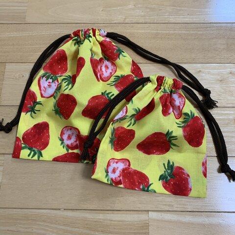 〈新柄〉イチゴ柄 ‼️巾着袋  2点セット