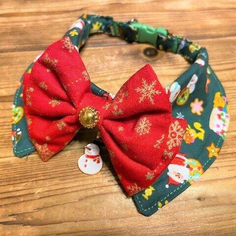犬・猫の首輪 29~32 cocoちゃんリボンチョーカーNEO グリーン・クリスマス柄・スイーツ・スノーマン