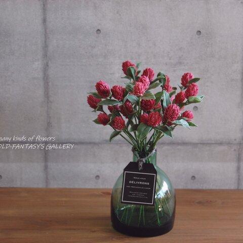 ◆粘土のお花◆ 千日紅・ストロベリーフィールズをボトルベースに飾って・・・約22センチ S581