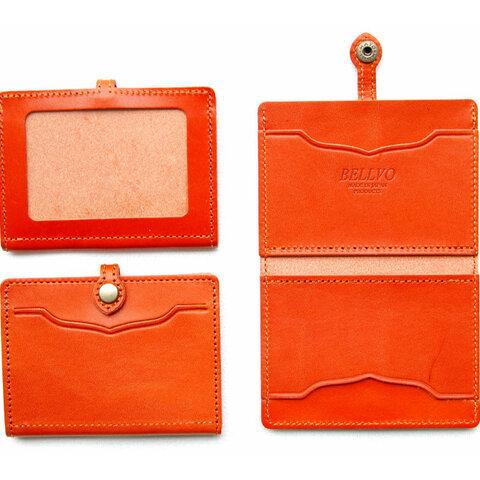 栃木レザー IDケース 4枚収納 カードケース 定期入れ パスケース ORANGE(赤茶)