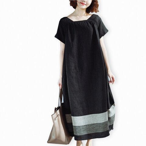 ブラック 半袖 ワンピース レディース 秋 ロング丈 おしゃれ 通勤 ゆったり 上品 ナチュラル 体型カバー シンプル 気品