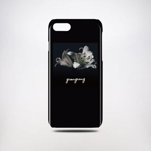 【送料・名入れ無料】 モノトーンフラワーフレーム スマホハードケース iPhone Android対応 名入れ対応 花