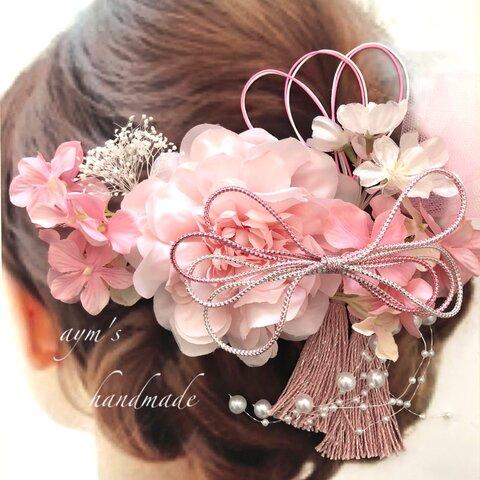 〜春〜桜ピンク〜和装髪飾り〜結婚式 ブライダル ウェディング 成人式 卒業式 振袖 着物 和風 ヘッドドレス サクラ