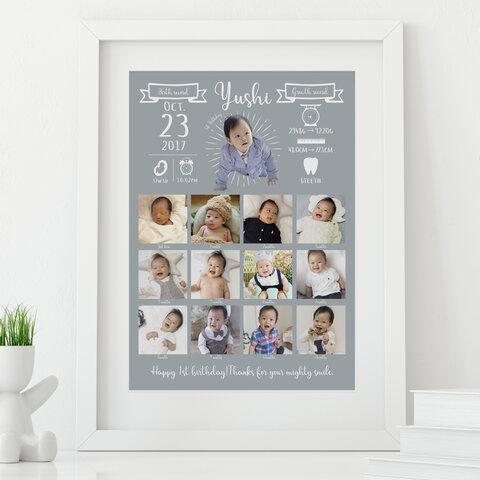 1歳のお誕生日記念に!ベビー成長記録ポスター/グレー(成長時計)