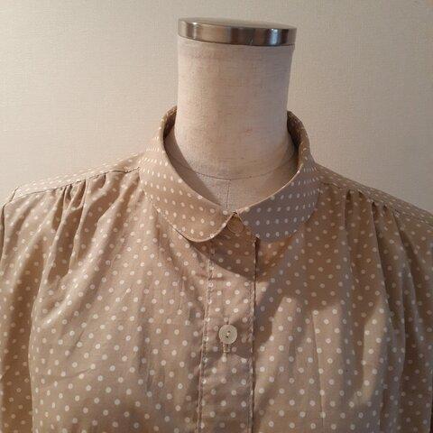 丸衿ブラウス(長袖)~肩ギャザー入り~(オーダー専用)