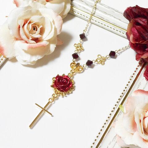 赤薔薇と十字架ネックレス