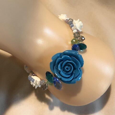 薔薇のブレスレット② ブルーホワイト