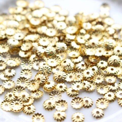 お手頃・ビーズキャップ(花座)・5mm・ゴールド(300個)