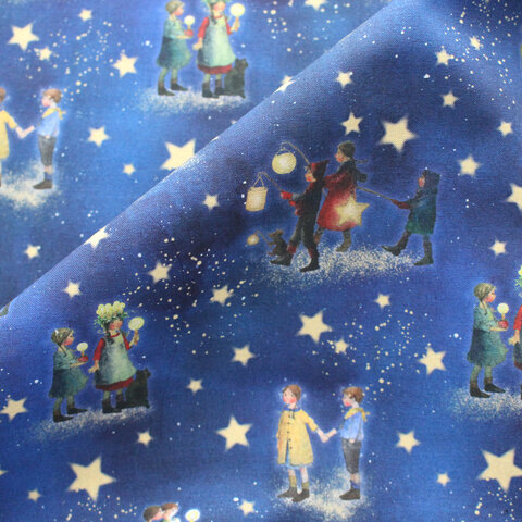 【140cm×50cm】ドイツ輸入生地 acufactum824 星空と子供たちの生地ブルー