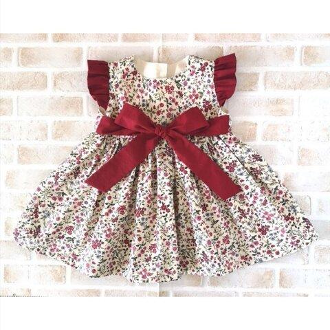 ❲thanks1000♥️❳❲人気商品❳[入園入学]ベビー キッズ ワンピース 紅い花柄