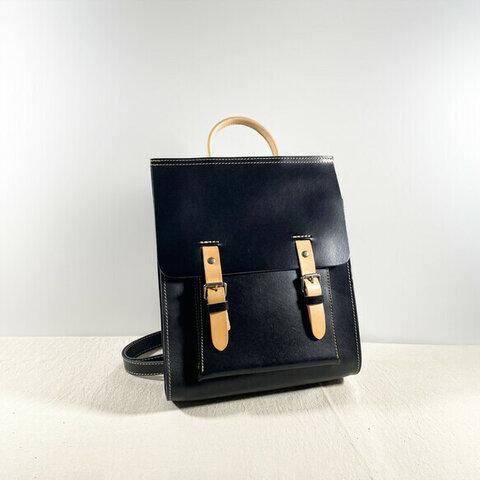 高級牛革 ヌメ革シンプルなリュックバッグ