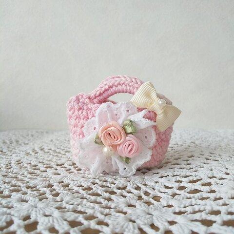 ♪手編みミニチュアバッグピンク バラ レース リボン