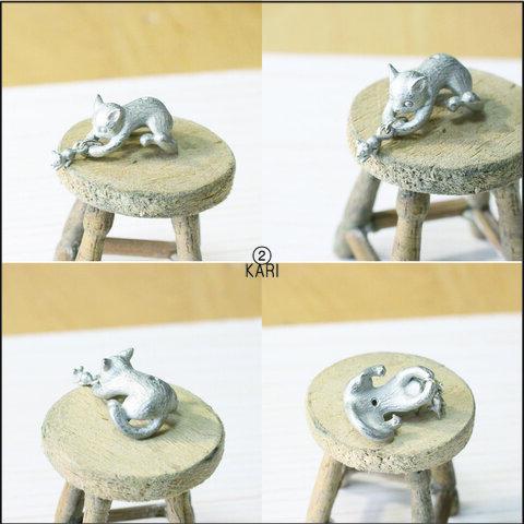 cat DE mouse ハンドメイドパーツ 2個セット ≪シルバー≫ 全5型