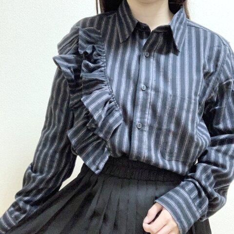 フリルロングシャツ ブラック