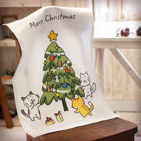 猫ちゃんたちのクリスマスタペストリー まゆねことクリスマスツリー