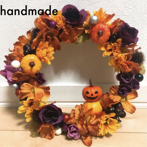 【handmade】ハロウィン フラワーリース
