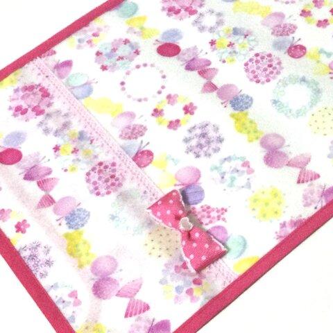 L 白xピンク ちょう&お花 リボン付 ランドセルカバー ラミネート 女の子