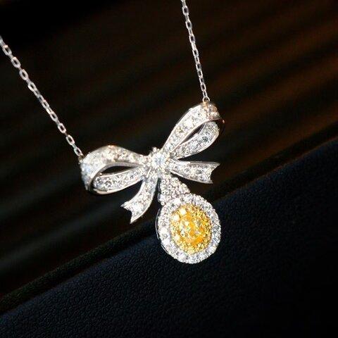 【セール価格】天然イエローダイヤモンドネックレス0.75ct k18