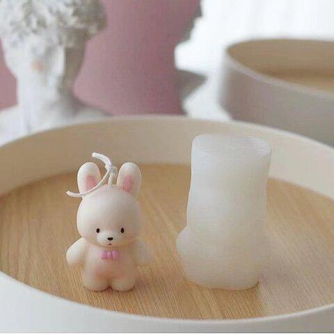 1p Nart Candle かわいいリボン兎のモールド シリコンモールド キャンドルモールド 兎 リボン